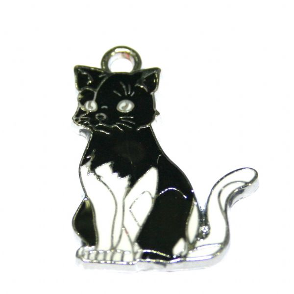 1 x 27*20mm rhodium plated black/white cat enamel charm - S.D03 - CHE1014